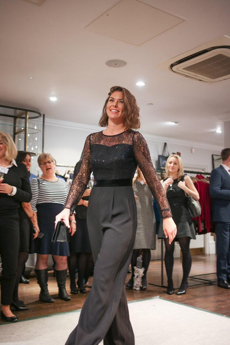 Barrister Eleanor Battie beautiful and elegant in a slinky cat suit